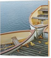 Three Boats Floating On Pond Beside Pier Wood Print