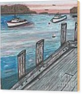 Three Boats In The Harbor Wood Print