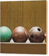 Three Bowling Balls Wood Print