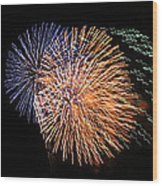 Three Bursts Of Fireworks Four July Two K Ten Wood Print by Carl Deaville