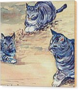 Three Cats In Dry Grass Wood Print