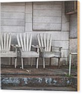 Three Chairs Beyond Front Street Wood Print by Brenda Bryant