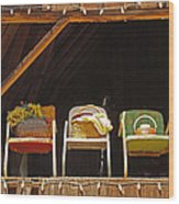 Three Chairs With A View Wood Print