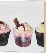 Three Cupcakes Wood Print by Jane Rix