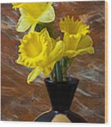 Three Daffodils Wood Print