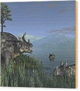 Three Estemmenosuchus Mirabilis Face Wood Print