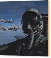 Three F-15 Eagles Fly High Wood Print