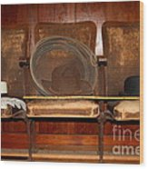 Three Hats A Lasso And A Cane At The Old Movie Theater . 7d12726 Wood Print by Wingsdomain Art and Photography