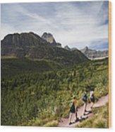 Three Hikers Walk On A Trail Wood Print