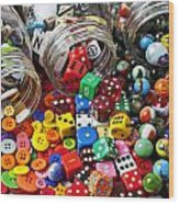 Three Jars Of Buttons Dice And Marbles Wood Print