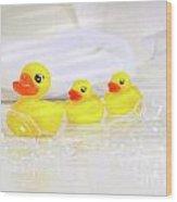 Three Little Rubber Ducks Wood Print