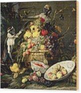 Three Monkeys Stealing Fruit Wood Print