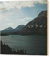 Three Mountains On Many Glacier Lake Wood Print