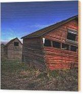 Three Old Red Granaries On The Alberta Wood Print