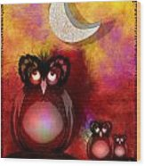 Three Owls Wood Print
