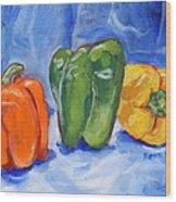 Three Peppers Wood Print