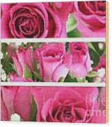 Three Pink Roses Landscape Wood Print