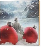 Three Red Christmas Balls In The Snow Wood Print