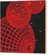 Three Red Wire-drawn Spheres Wood Print