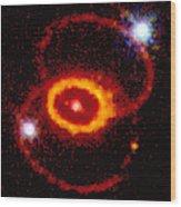 Three Rings Of Glowing Gas - Supernova Wood Print