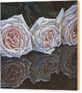 Three Roses Still Life Wood Print