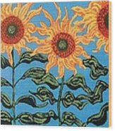 Three Sunflowers IIi Wood Print by Genevieve Esson