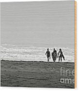 Three Swimmers With Surfing Boards Wood Print