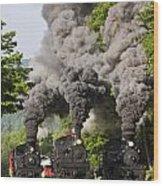 Three Train Race Wood Print