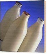 Three Types Of Bottled Milk Wood Print by Steve Horrell