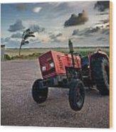 Three Wheeled Tractor Wood Print