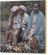 Three Women Traders Sit Wood Print