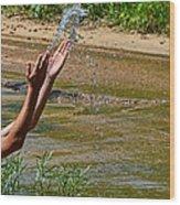Throwing Water I Wood Print