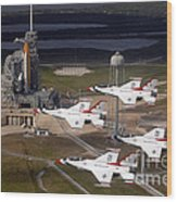 Thunderbirds Fly Past Endeavour Wood Print