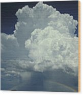 Thunderclouds And Rinbow Wood Print