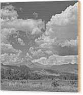 Thunderstorm Clouds Boiling Over The Colorado Rocky Mountains Bw Wood Print