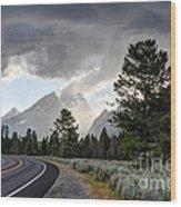 Thunderstorm On Grand Teton Road Wood Print
