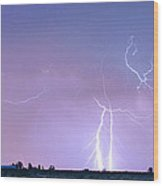 Thunderstorm On The Colorado Plains Panorama Wood Print