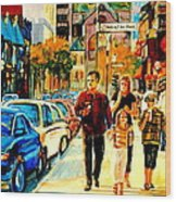 Thursdays Pub On Crescent Street Montreal City Scene Wood Print