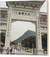 Tian Tan Buddha Entrance Arch Wood Print by Valentino Visentini