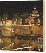 Tiber River And Ponte Vittorio Emanuele II Bridge With St. Peter's Basilica. Vatican City. Rome Wood Print