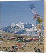Tibetan Buddhist Prayer Flags Atop Pass Wood Print