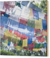 Tibetan Buddhist Prayer Flags Wood Print