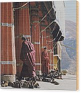Tibetan Monks At Sera Wood Print