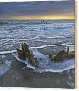 Tides At Driftwood Beach Wood Print