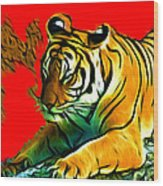 Tiger - 3825 - Red Wood Print