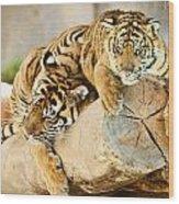 Tiger And Cub Wood Print