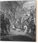 Tiger Hunt, 19th Century Wood Print