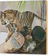 Tigers Playing Wood Print