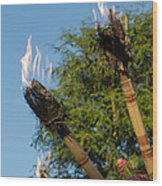 Tiki Torch Wood Print