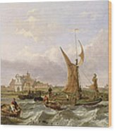 Tilbury Fort - Wind Against The Tide Wood Print by William Clarkson Stanfield